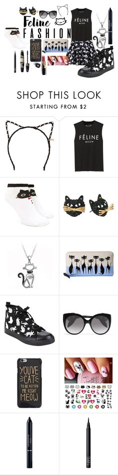 """""""Feline Style"""" by soph13-13 ❤ liked on Polyvore featuring Tasha, Brian Lichtenberg, Forever 21, Betsey Johnson, Kate Spade, Alexander McQueen, Max Factor, Chanel, Christian Dior and NARS Cosmetics"""