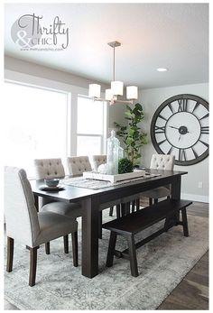 Dining Room Walls, Dining Room Design, Dining Chairs, Dining Decor, Dining Area, Dining Room Area Rug Ideas, Modern Dinning Room Ideas, Upholstered Dining Room Chairs, Area Rugs