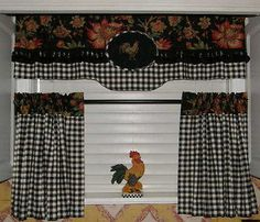 CUSTOM FRENCH COUNTRY VALANCE Roosters Cafe Tiers Curtain PANEL Black Check Trim