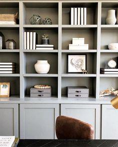 Built-in bookcase styling Bookshelf Styling, Bookshelf Design, Built In Bookcase, Bookcases, Office Bookshelves, Painted Bookshelves, Living Room Shelves, Living Room Decor, Billy Regal