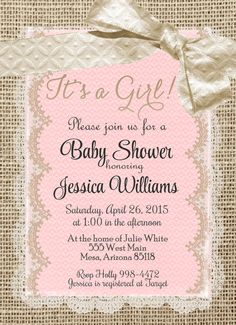 Burlap and Lace Baby Shower Invitation Invite by WallflowerEvents love the burlap and lace sooooo much