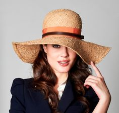 Wide brimmed floppy beach hat - ST TROPEZ - new handmade -  Hermes orange and brown leather band - Marilyn Monroe beach yacht city chic  - www.facebook.com/vaneastwoodhats