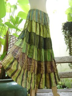 Woven Dyed Cotton Long Tiered Skirt  G0601 by fantasyclothes, $44.00