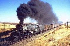 """Union Pacific 4-8-8-4 """"Big Boy"""" #4011 leads boxcars and livestock cars at Granite, Wyoming on October 21, 1956. Al Chione photo."""