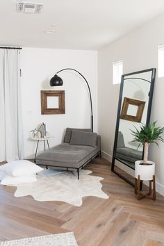 THE LifeStyled CO Carol Way Project master bedroom white cow hide rug modern chaise lounge custom floor mirror floor pillows modern farmhouse white walls organic desert living White Cowhide Rug, Luxurious Bedrooms, Luxury Bedrooms, Master Bedrooms, Luxury Bedding, Master Master, Modern Bedroom, Diy Bedroom, Contemporary Bedroom