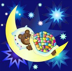 illustration d une chambre d enfant la nuit: Ours endormi sur la Lune parmi les étoiles brillantes sur fond de ciel bleu Illustration