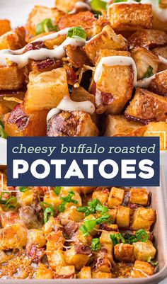 These crispy Cheesy Buffalo Roasted Potatoes are the side dish you never knew you needed in your life! Spiced potatoes, tangy hot sauce, gooey cheese, crispy bacon, fresh green onions... and top it all off with a drizzle of ranch or blue cheese dressing! #sidedish #potatoes #buffalo Potato Side Dishes, Best Side Dishes, Healthy Side Dishes, Vegetable Side Dishes, Potato Recipes, Lunch Recipes, Vegetable Recipes, Breakfast Recipes, Best Dinner Recipes