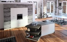 HAKA Küche // 90 Kitchen Island, Table, Room, Furniture, Home Decor, Barn Wood Floors, Decorating Kitchen, Island Kitchen, Bedroom