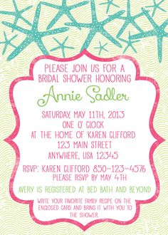 Beach Themed Bridal Shower Invitations For A Destination Wedding