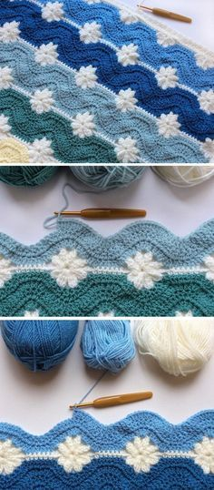 Baby Knitting Patterns Free Pattern – Blanket from Embossed and Daisy Squares - Design Peak Point Granny Au Crochet, Crochet Squares Afghan, Crochet Blanket Patterns, Baby Knitting Patterns, Crochet Stitches, Crochet Blankets, Granny Squares, Crochet Afghans, Loom Crochet