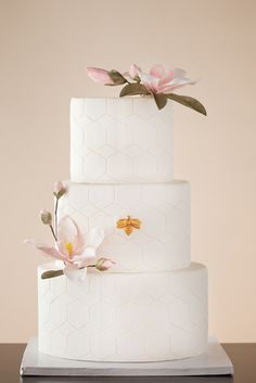 Honeycomb pattern cake with golden bee