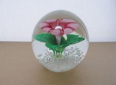 INCREDIBLE Murano FLOWER Glass PAPERWEIGHT Elegant BUBBLES Extraordinary VINTAGE
