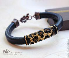 Купить Браслет Регализ с леопардовым принтом - черный, леопардовый, леопардовый принт, золотой, регализ