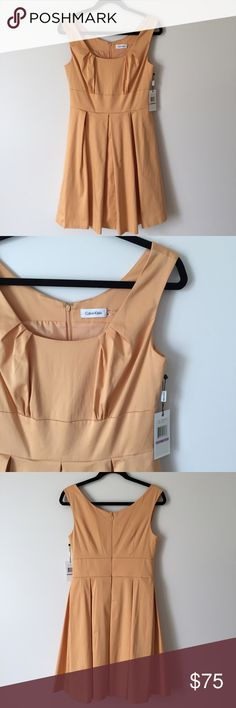 NWT Calvin Klein Apricot Fit and Flare Dress NWT. Retail $150. A gorgeous apricot colored fit and flare dress. This dress hugs in all the right places. Prefect for a wedding or everyday wear. Has great structure. Measurements according to brand: bust 36, waist 28.5, hip 38.5. Calvin Klein Dresses