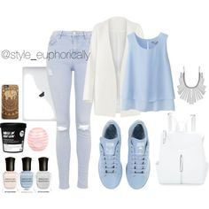 pastels ft raf Simmons by daequelbrown on Polyvore featuring polyvore fashion style Uniqlo Non Topshop adidas Ashley Stewart Lucky Brand River Island Deborah Lippmann