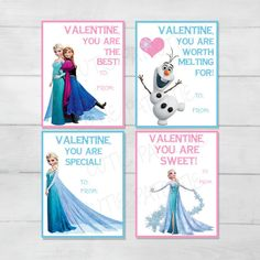 Frozen Valentine's Day Cards for Kids by CutiePatootieRoomie
