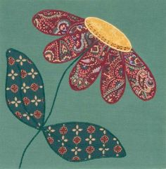 quilted daisy: so pretty - quilt patterns Quilt Block Patterns, Quilt Blocks, Felt Patterns, Aplique Quilts, Hand Embroidery Patterns Flowers, Flower Quilts, Hand Applique, Sewing Appliques, Applique Designs