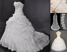 New Stock White/Ivory Wedding Dress Bridal Gown Size:6/8/10/12/14/16/18