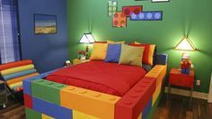 Mijn zoon zijn nieuwe Lego kamer! Met Lego bed!