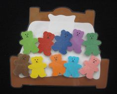 Ten in the Bed felt board template. Use the template of the teddy bear to use as a manipulative to find on music staff on the floor.