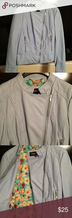Baby blue leather jacket Brand new never worn light blue leather jacket. Black Rivet Jackets & Coats