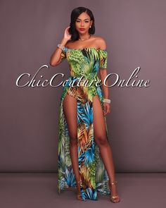 9e5660fb4ff2 Chic Couture Online - Bennetty Green Palm Off Shoulder Double Slit Romper  Maxi Dress