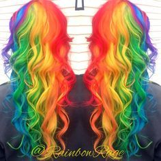 month in hair colors! Super pretty long curly bright (almost neon) rainbow hair color! I think I'm in love!Super pretty long curly bright (almost neon) rainbow hair color! I think I'm in love! Hair Dye Colors, Cool Hair Color, Love Hair, Gorgeous Hair, Pelo Multicolor, Neon Hair, Bright Hair, Colorful Hair, Coloured Hair