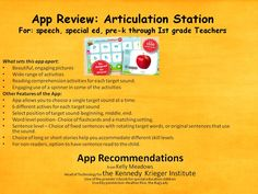 fApp Recommendations from Kelly Meadows . Head of Technology for the Kennedy Krieger Institute. One of the premier schools for special education children Used by permission- Heather Rice, the Bag Lady