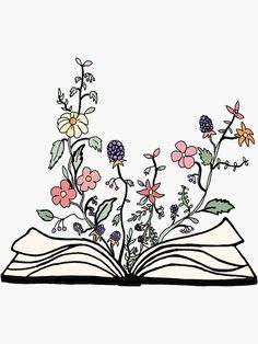 Flower Doodles Discover flowers growing from book Sticker by andilynnf Book Drawing, Plant Drawing, Drawing Sketches, Flower Doodles, Doodle Flowers, Drawings Of Flowers, Easy Flower Drawings, Book Tattoo, Doodle Art