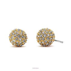 Gold crystal ball stud earrings add sparkle and style to your look. Emily Earrings $18 E-012009 #justjewelry #jewelry #fashionjewelry #fashionearrings #paveearrings #studearrings #goldearrings #ballearrings #postearrings