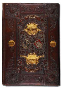 Georg Hulbe, Hamburg, Germany, 1893, gilt and painted leather document holder, 48 x 32 cm,