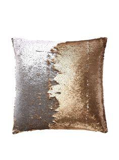 Mermaid Sequin Pillow in Citrine 20x20