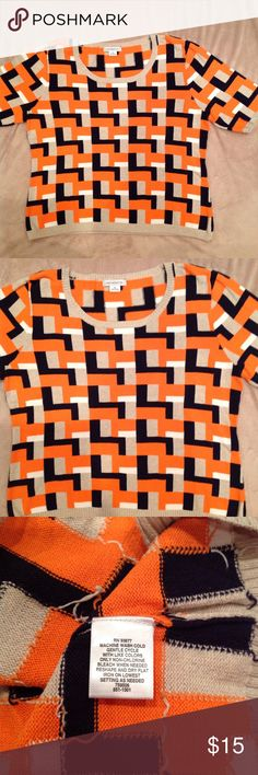Liz Claiborne short sleeve Sweater Colors are orange, navy, white and tan, see last picture for product tag. Liz Claiborne Sweaters Crew & Scoop Necks