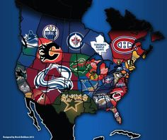 Updated NHL map. The one I posted a few years ago did not include the Jets
