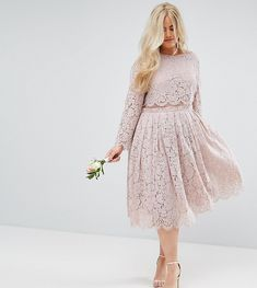 ASOS CURVE WEDDING Lace Long Sleeve Midi Prom Dress - Pink