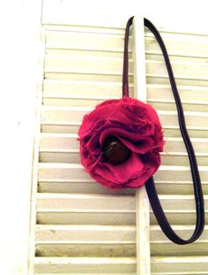Silk Hot Pink Flower with Vintage Brown Button on by frillsandfuss, $9.00