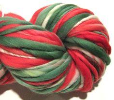 Handspun Yarn Christmas Is Coming 108 yards by SpinningWheelStudio