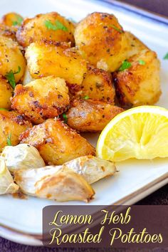 Lemon Heb Roasted Potatoes with text for pinterest