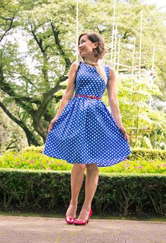 Shein Blue Polka Dot Dress - Red Pumps - Square Silk Scarf