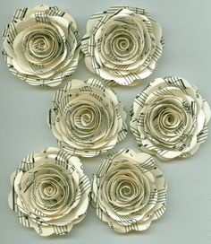 Music Sheet Handmade Large Spiral Paper Flowers on Etsy, $4.88 AUD