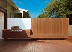 Image result for wood deck built in bbq