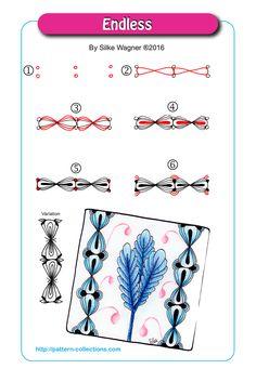 Endless Tangle, Zentangle Pattern by Silke Wagner Doodle Designs, Doodle Patterns, Line Patterns, Zentangle Patterns, Doodle Borders, Zentangle Drawings, Doodles Zentangles, Doodle Drawings, Tangle Doodle