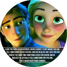 """""""I love the point after Rapunzel hears Eugene's story where you can tell somethings clicks for her, and she realizes she likes this guy, then at the same time something clicks for Eugene and he realizes he actually feels something for this girl. That's when everything changed."""""""