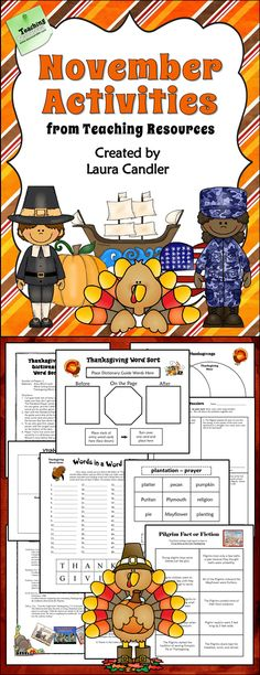 November Activities from Laura Candler's Teaching Resources - Ready-to-use lessons for Veterans Day and Thanksgiving $ #LauraCandler