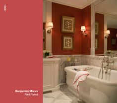 I like to use the color Red to warm up a room. Red Parrot from Benjamin Moore was perfect for this master bath in an urban townhouse. I particularly liked the contrast with the cool Calacutta marble and the white Empire soaking tub from Waterworks.  Red Parrot is a particular favorite of mine because the claret undertone softens what can be percieved as a strong color.