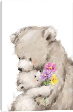 Cute Bear Drawings, Animal Drawings, Bear Pictures, Cute Pictures, Canvas Artwork, Canvas Art Prints, Watercolor Card, Blue Nose Friends, Cute Animal Illustration