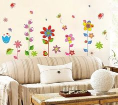 Fresh VINOOL Bunte Blumen Pflanze Schmetterling Wandsticker Wandtattoo f r Sofa Wohnzimmer Schlafzimmer kinderzimmer m dchen TV Wandsticker SUNNICY