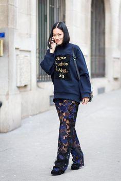 Tiffany Hsu in Acne's logo sweatshirt