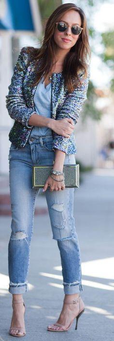 Sparkly blazer, distressed jeans, heels