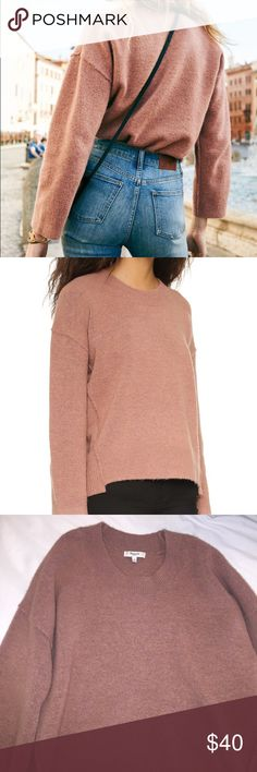 Madewell Connection Sweater - Large in Sunset Rose I wore this sweater a few times so it does show signs of wear!**Please don't expect it to look or feel brand new. It's a size large.. I'm usually a small or medium so this sweater has an oversized fit. Product Detail: With raw-edged seams and a step hem, this is a fresh take on a timeless pullover shape made of an incredibly soft and light yarn with the look of boiled wool.  Slightly boxy. Acrylic/poly/wool/viscose with a hint of stretch…